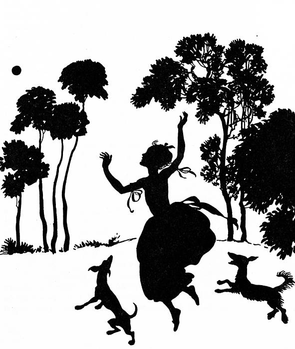 Cinderella Playing With Her Dogs Print by Arthur Rackham