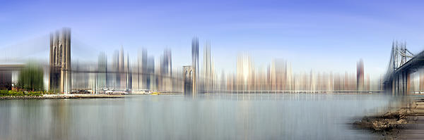 City-art Manhattan Skyline I Print by Melanie Viola