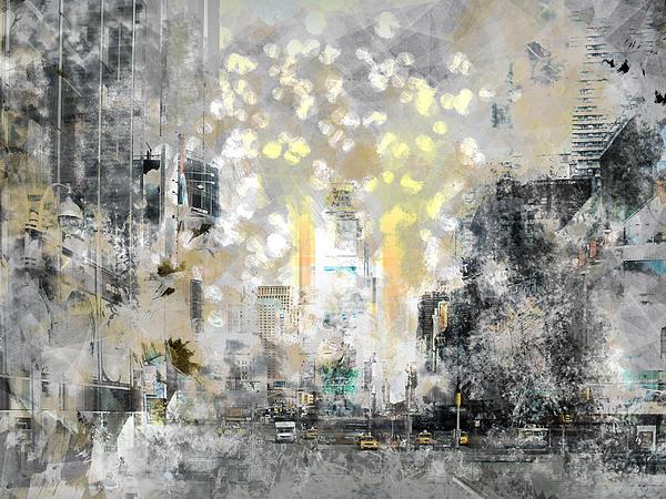 City-art Manhattan Sunflower Print by Melanie Viola