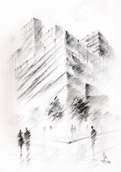 City Building Print by Fanny Diaz