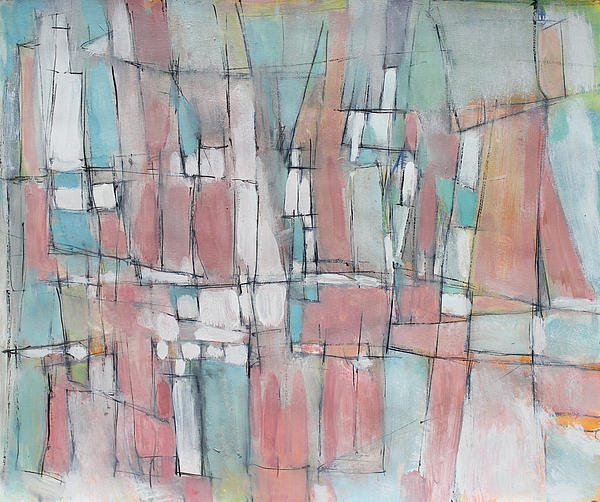 City In Peach And Turquoise Print by Hari Thomas