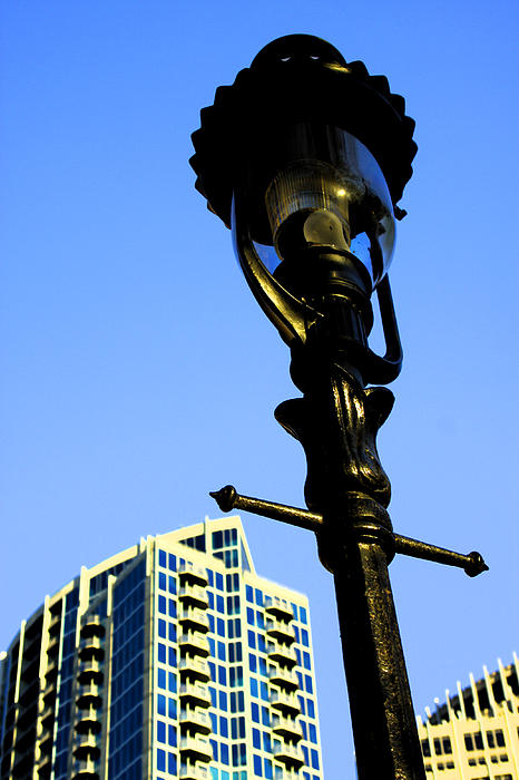 City Lamp Post Print by Karol  Livote