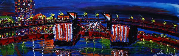City Light Over Morrison Bridge 7 Print by James Dunbar