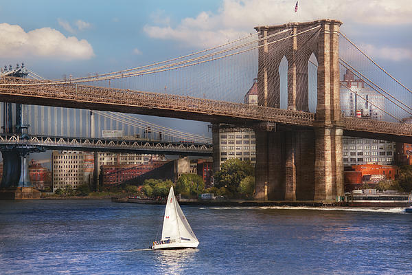 City - Ny - Sailing Under The Brooklyn Bridge Print by Mike Savad