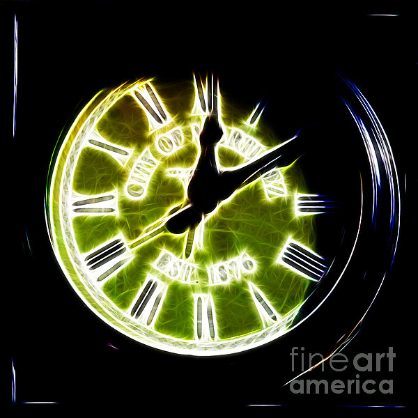 City Of Martinez California Town Clock - 5d20862 - Electric Print by Wingsdomain Art and Photography