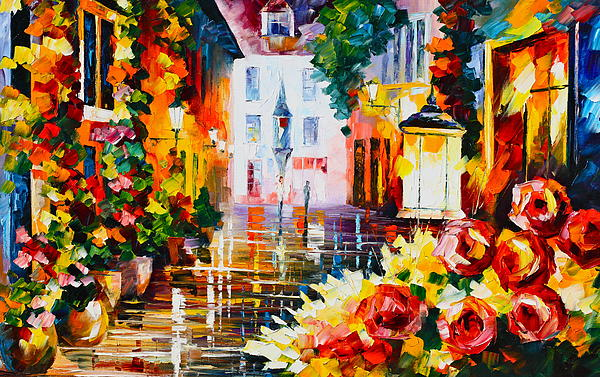 City Of Roses Print by Leonid Afremov