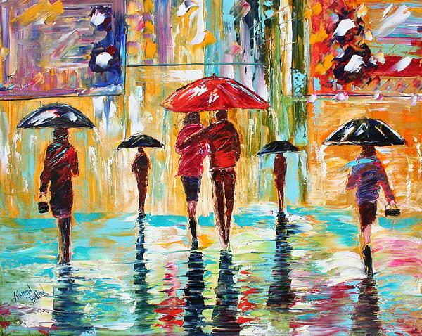 City Rain Print by Karen Tarlton