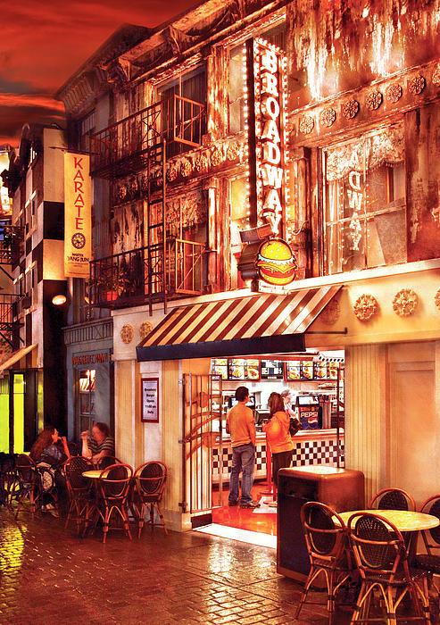 City - Vegas - Ny - Broadway Burger Print by Mike Savad
