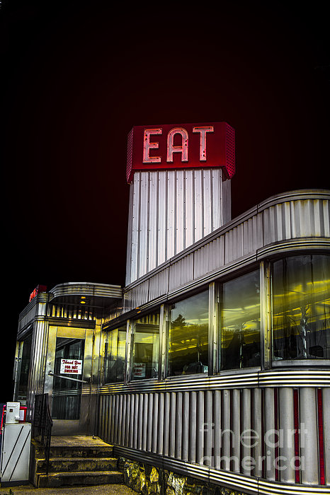 Classic American Diner At Night Print by Diane Diederich