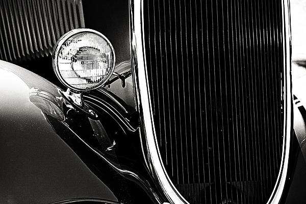 Classic Car Grille Black And White Print by M K  Miller