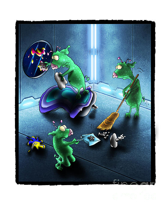 Cleanup The Alien Pigs Print by Star  Mudersbach