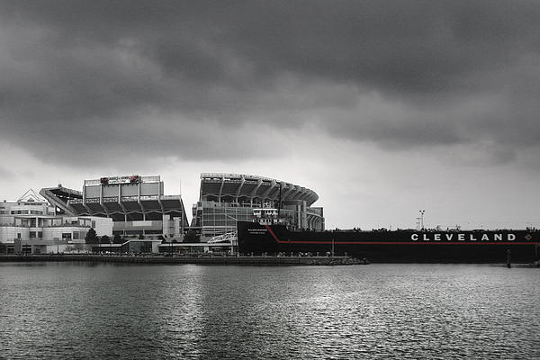 Cleveland Browns Stadium From The Inner Harbor Print by Kenneth Krolikowski