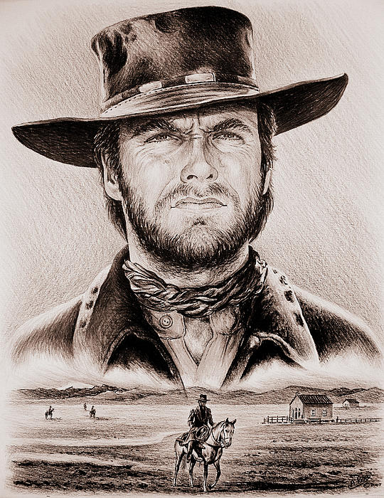 Clint Eastwood The Stranger Ye Old West Edit Print by Andrew Read