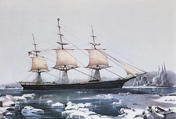 Clipper Ship Red Jacket In The Ice Off Cape Horn On Her Passage From Australia To Liverpool Print by American School