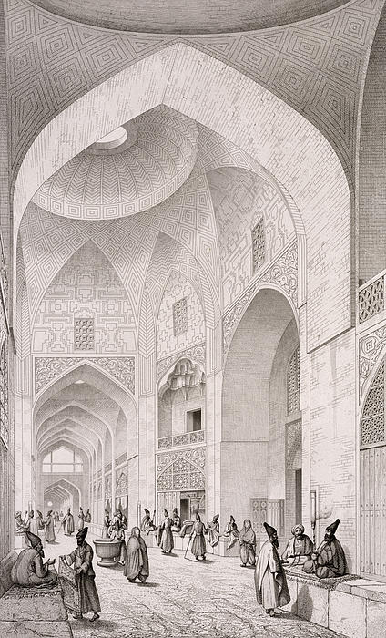 Cloth Market In Isfahan Print by Pascal Xavier Coste