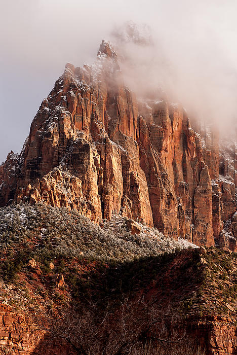Clouds Clearing The Watchman Zion National Park Utah Print by Robert Ford