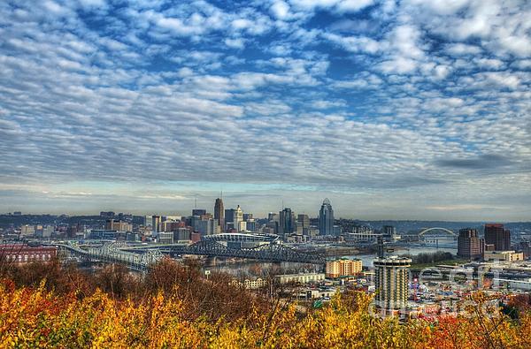 Clouds Over Cincinnati Print by Mel Steinhauer