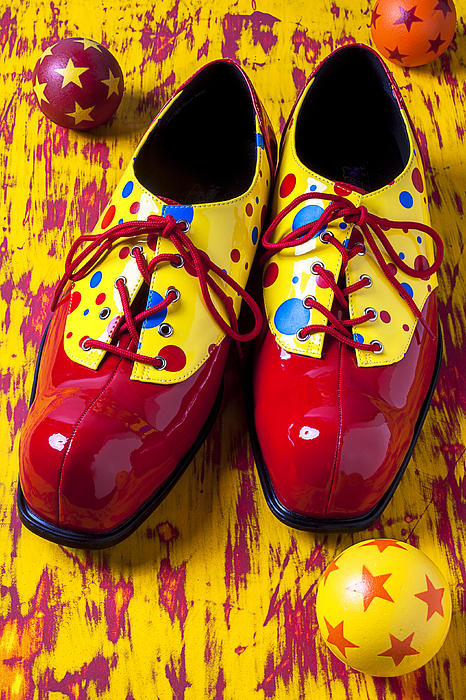 Clown Shoes And Balls Print by Garry Gay