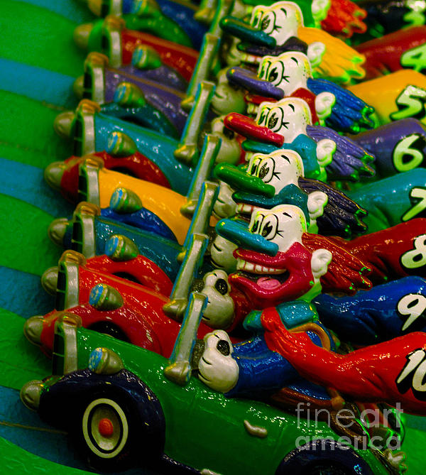 Clowns In Cars Amusement Park Game Print by Amy Cicconi