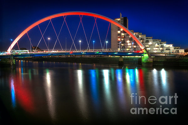 Clyde Arc Glasgow At Night Print by John Farnan