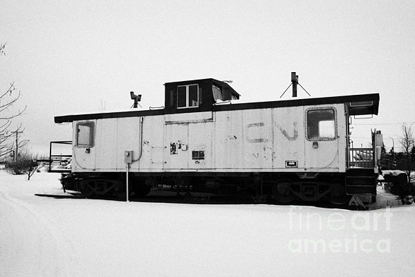 Cn Caboose At Cn Trackside Gardens Used As A Community Project Kamsack Saskatchewan Canada Print by Joe Fox