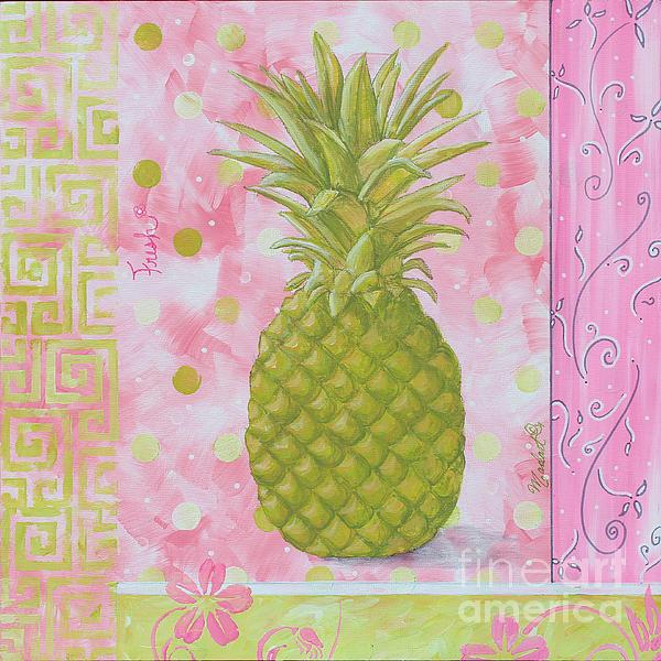 Coastal Decorative Pink Green Floral Greek Pattern Fruit Art Fresh Pineapple By Madart Print by Megan Duncanson