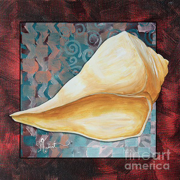 Coastal Decorative Shell Art Original Painting Sand Dollars Asian Influence II By Megan Duncanson Print by Megan Duncanson