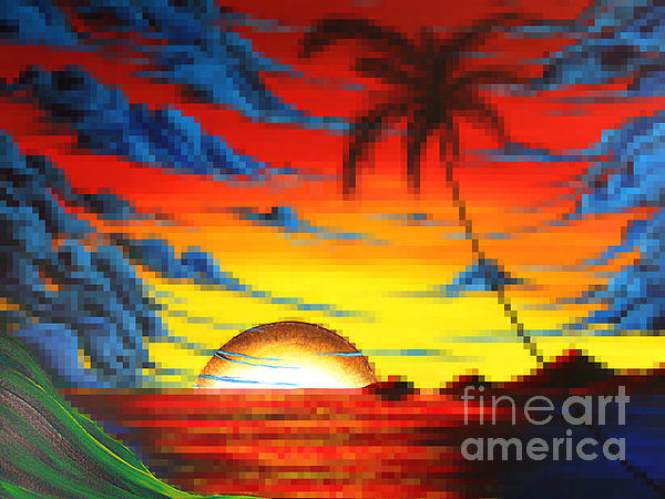 Coastal Tropical Abstract Colorful Pixel Art Digital Painting Compilation Tropical Bliss By Madart Print by Megan Duncanson