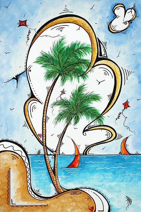 Coastal Tropical Art Contemporary Sailboat Kite Painting Whimsical Design Summer Daze By Madart Print by Megan Duncanson
