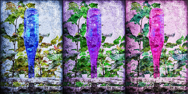 Cobalt Blue Purple And Magenta Bottles Collage Print by Andee Design