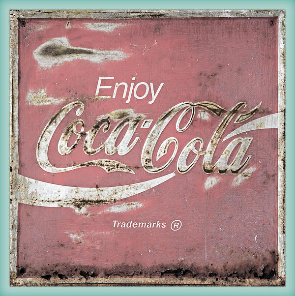 Coca Cola Pastel Grunge Sign Print by John Stephens