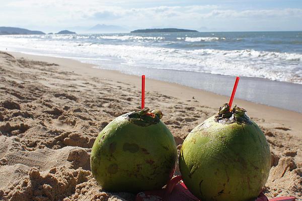 Coconuts Juice On The Beach Print by Chikako Hashimoto Lichnowsky