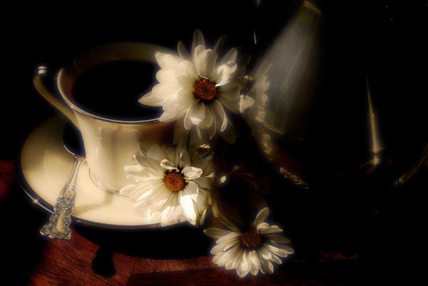 Coffee And Daisies  Print by Lois Bryan