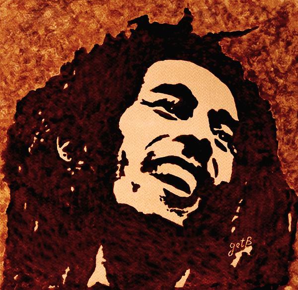 Coffee Painting Bob Marley Print by Georgeta  Blanaru