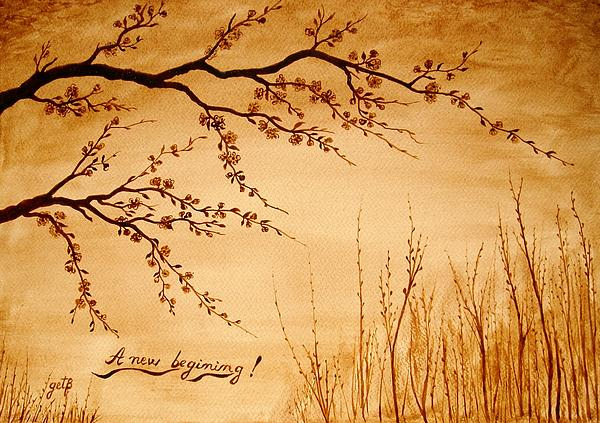 Coffee Painting Cherry Blossoms Print by Georgeta  Blanaru