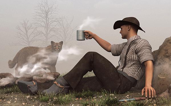 Coffee With A Cougar Print by Daniel Eskridge