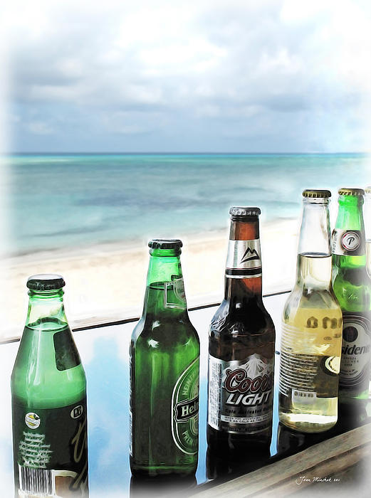 Cold Beers In Paradise Print by Joan  Minchak