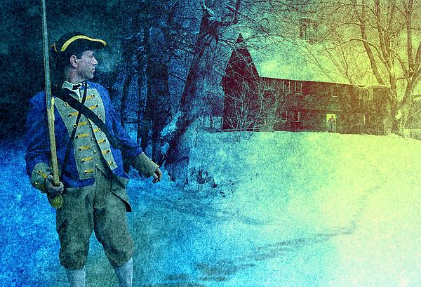 Colonial Soldier Leaving His Home Print by Matthew Frey
