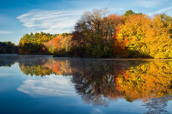 Color On Grist Mill Pond Print by Michael Blanchette