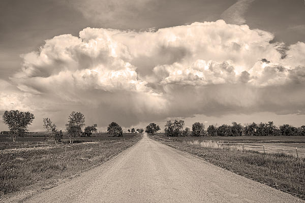 Colorado Country Road Stormin Sepia  Skies Print by James BO  Insogna