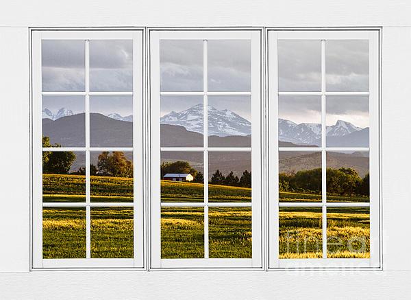 James BO  Insogna - CO Rocky Mountain View Through A White 24 Pane Window