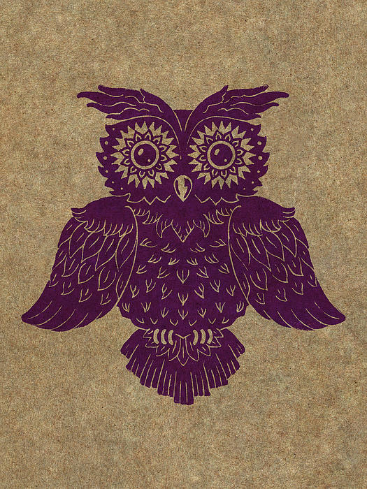 Colored Owl 1 Of 4  Print by Kyle Wood