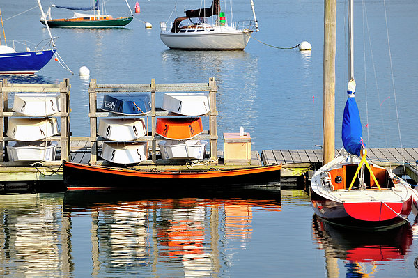 Colorful Boats Rockland Maine Print by Marianne Campolongo