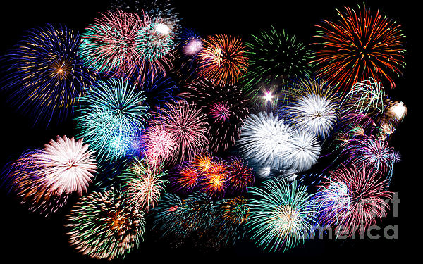 Colorful Fireworks Of Various Colors In Night Sky Print by Stephan Pietzko
