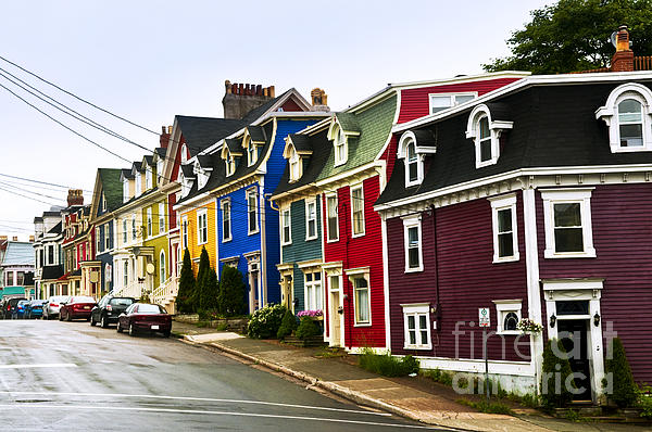 Colorful Houses In Newfoundland Print by Elena Elisseeva