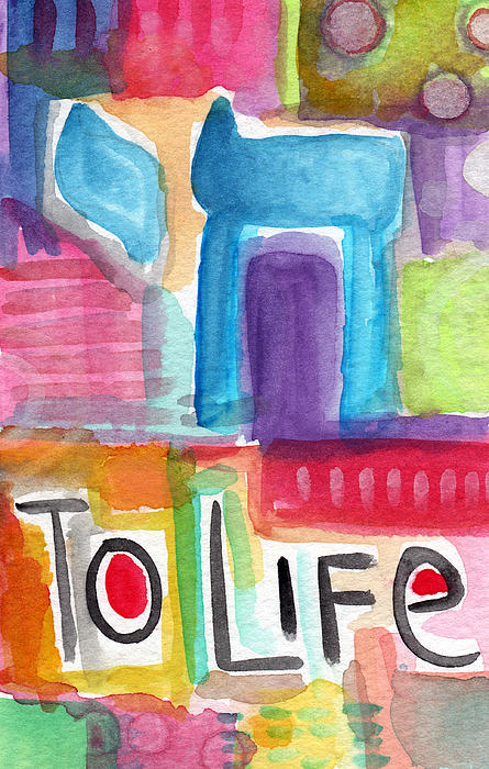 Colorful Life- Abstract Jewish Painting Print by Linda Woods
