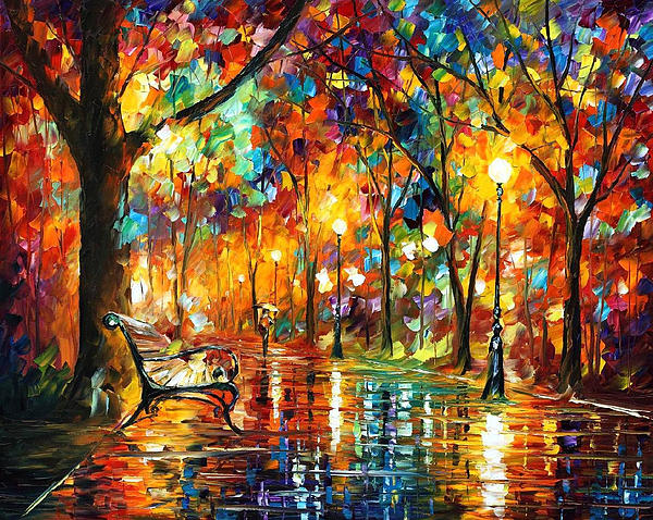 Leonid Afremov - Colorful Night - PALETTE KNlFE Oil Painting On Canvas By Leonid Afremov