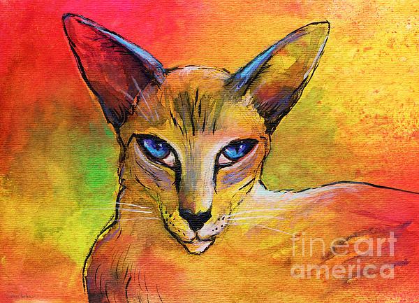 Colorful Oriental Shorthair Cat Painting Print by Svetlana Novikova