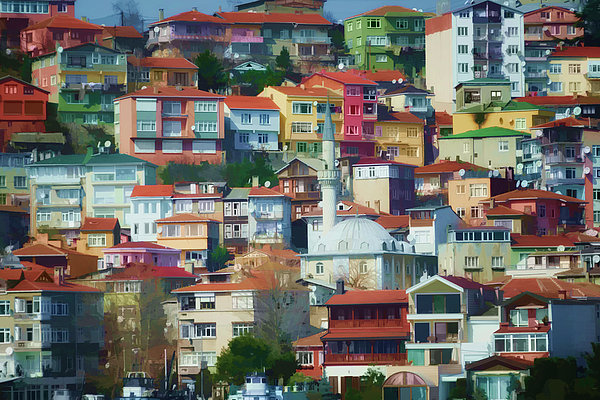 Colorful Town Print by Joan Carroll