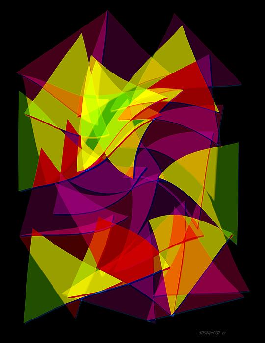 Colorful Triangles Geometric Art Designs Print by Mario  Perez